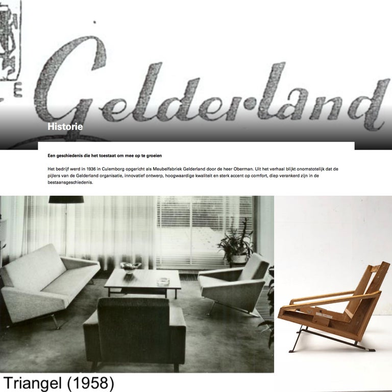 This very rare Triangel set was produced by Dutch high end furniture manufacturer Gelderland (founded in 1938) by Oberman 1958 (the year this Triangel model was introduced) was the year that modernism boomed in Europe, the 1958 World Expo in