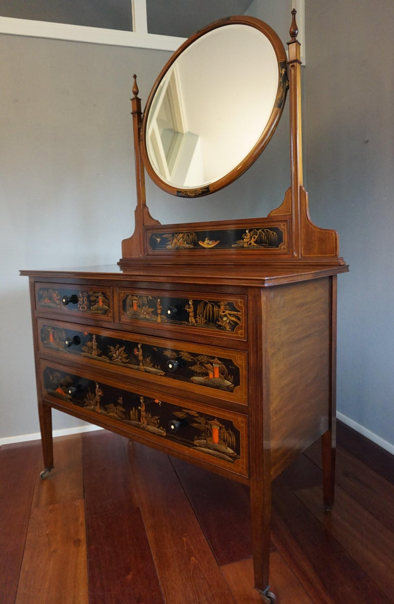 Antique Hand-Painted Mahogany Commode W. Beveled Vanity Mirror Chinoiserie Style For Sale 13