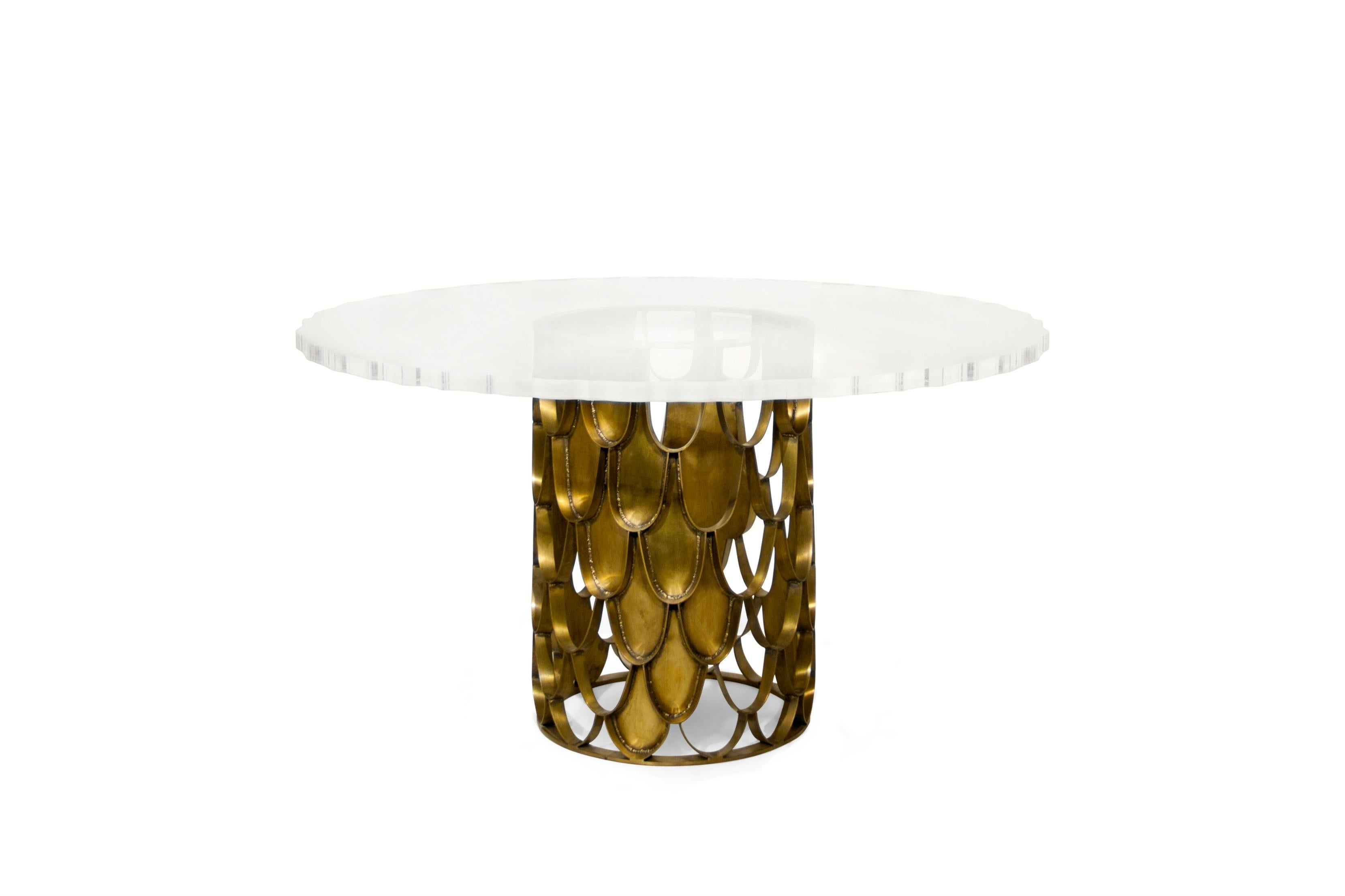 Mid Century Modern Koi Dining Table In Brass With Round Acrylic Top For Sale