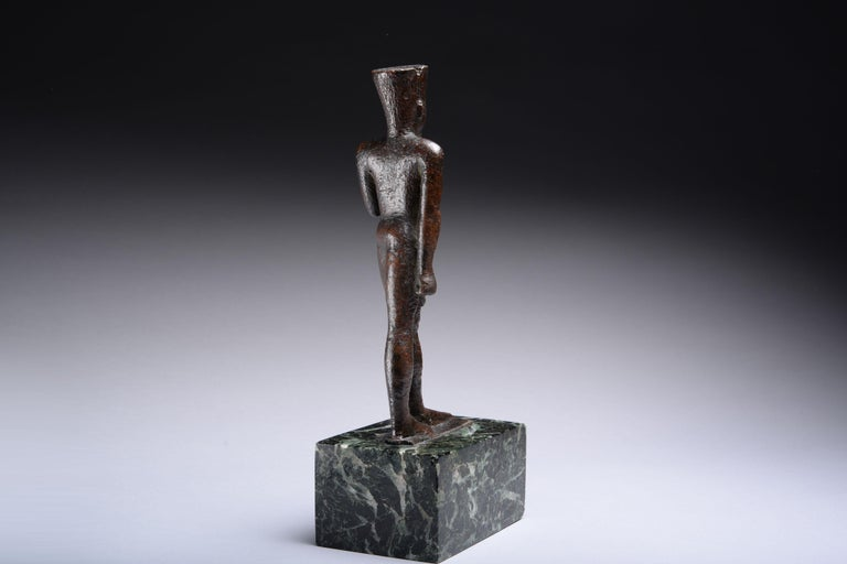 Ancient Egyptian Bronze Statue of Amun, 664 BC In Excellent Condition For Sale In London, GB