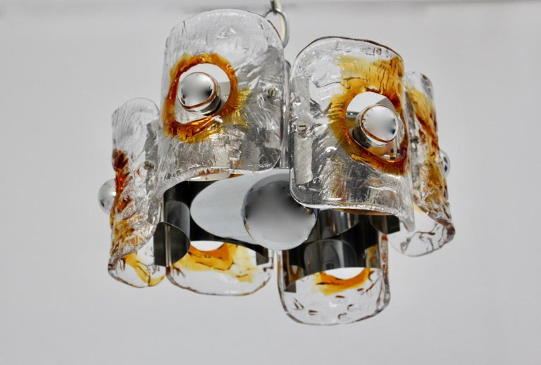 Mid-Century Modern Mid Century Modern Vintage Glass Chandelier Mazzega Chandelier, Italy, 1970 For Sale