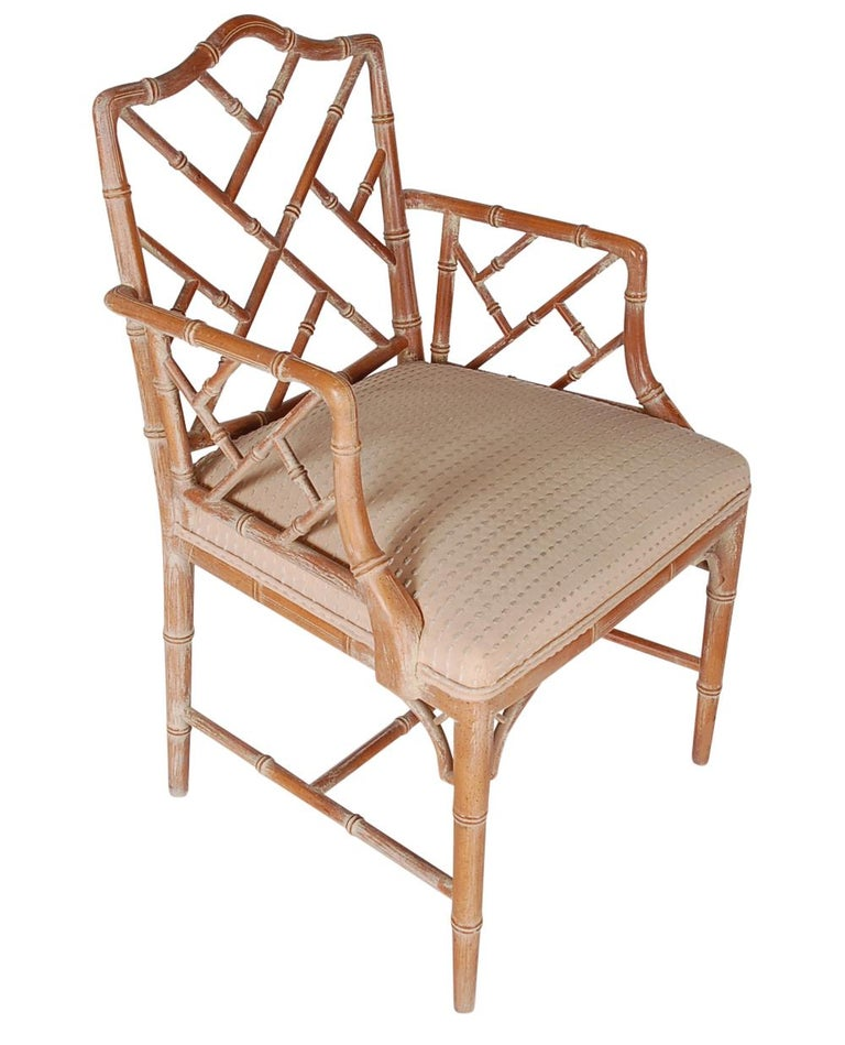 American Hollywood Regency Faux Bamboo White Washed Chinese Chippendale Armchair For Sale
