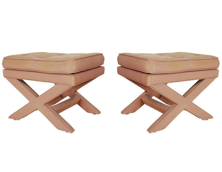 American Mid-Century Modern Hollywood Regency X Benches or Stools after Billy Baldwin For Sale