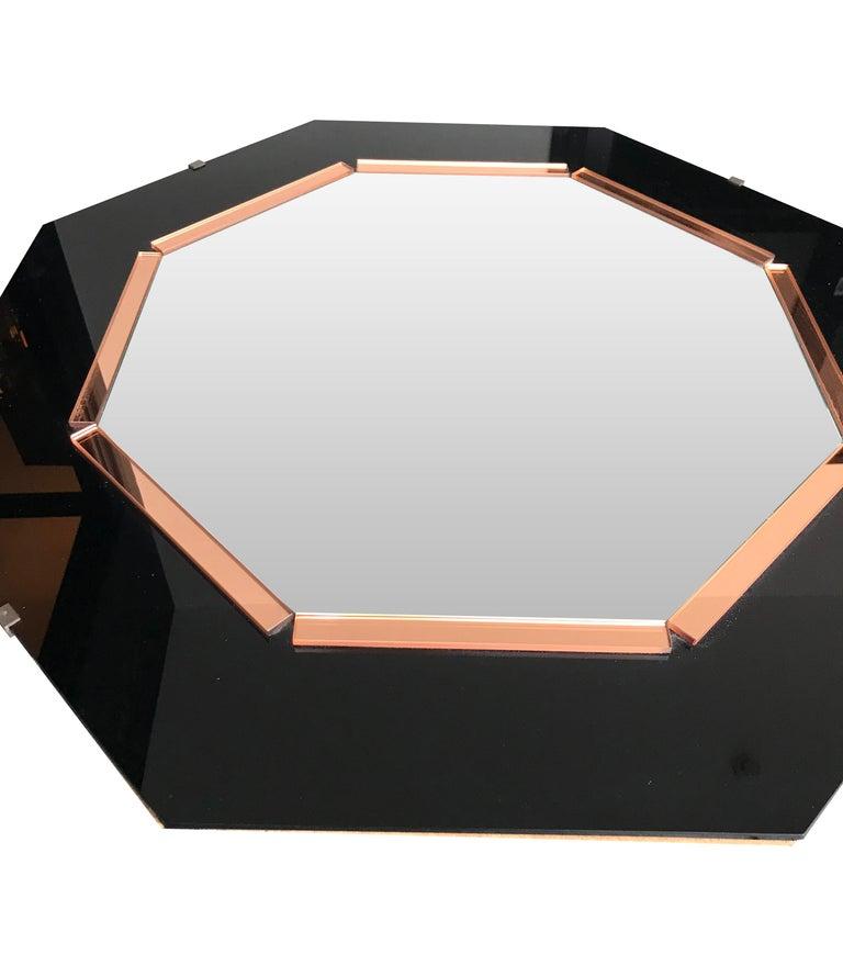 French Black Glass and Rose Mirror  Art Deco Style Octagonal Mirror For Sale