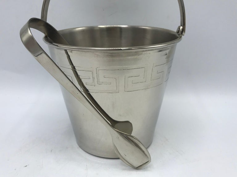 Modern 1970s Chrome Ice Bucket and Tongs with Greek Key Motif For Sale