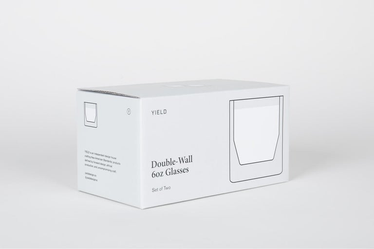 Modern Double-Wall 6oz Glasses, Set of Two, Clear For Sale
