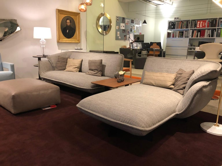 Modern Cassina, Beam Sectional in Warm Grey Fabric with Pillows For Sale