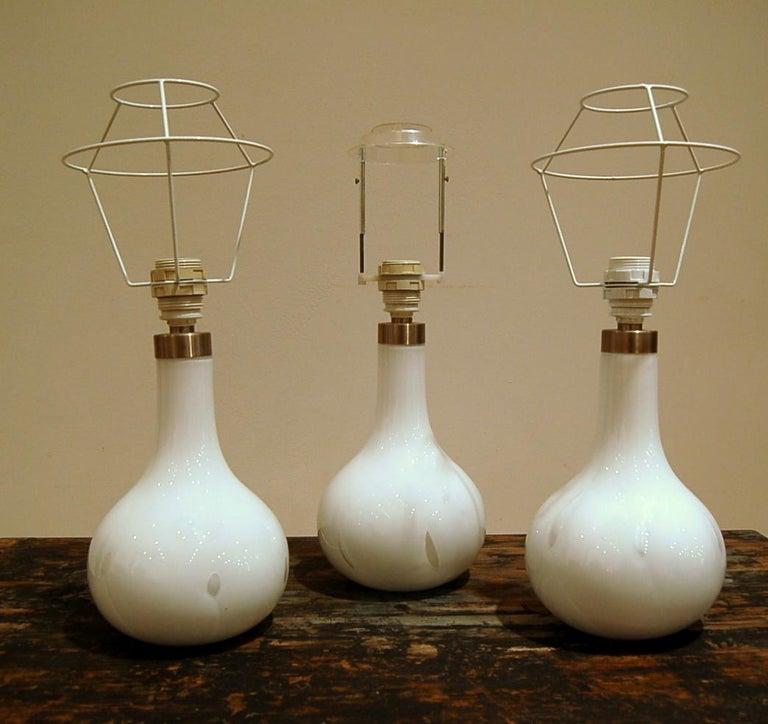 Peter Svarrer, Hand-blown White Milk Glass + Brass