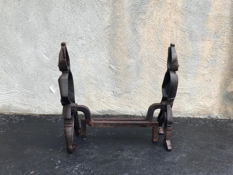 American Hessian Andirons with Rare Blue Painted Coats, Early 1800s For Sale