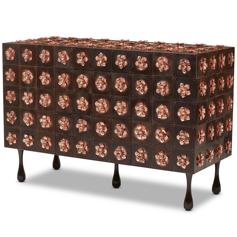 Modern Copper and Burnished Steel, Contemporary Rosette Sideboard by Egg Designs For Sale