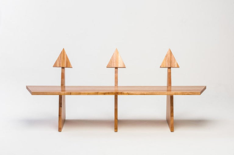 South American Contemporary Trio Bench 2 in Solid African Mahogany Wood Panels Brazilian Design For Sale