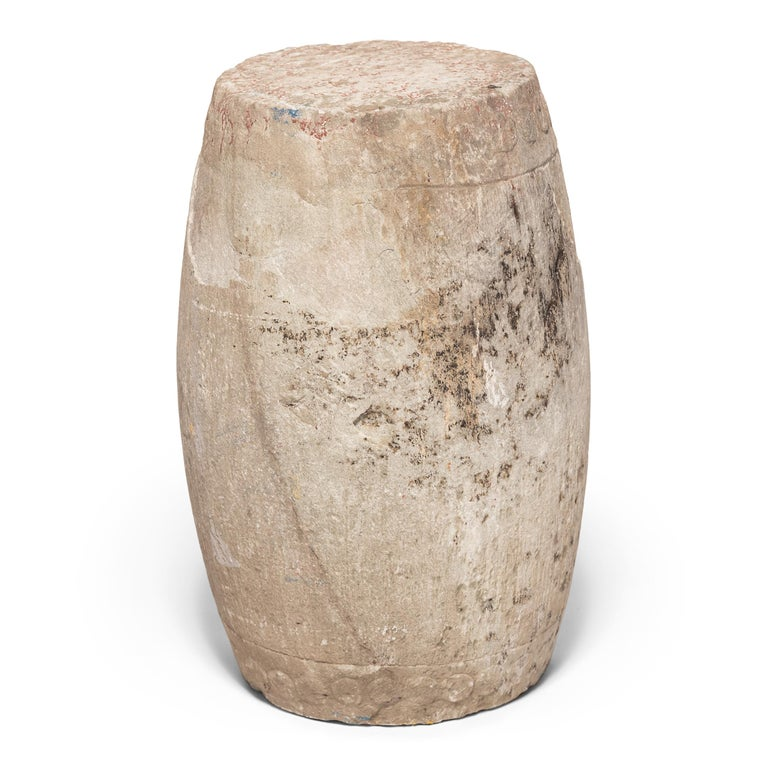 Qing 19th Century Chinese Limestone Drum Stool For Sale