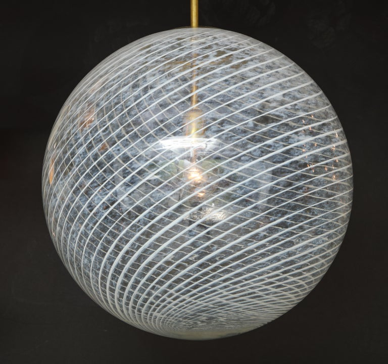 Mid-Century Modern Large Venini White and Clear Murano Glass Globe or Pendant For Sale