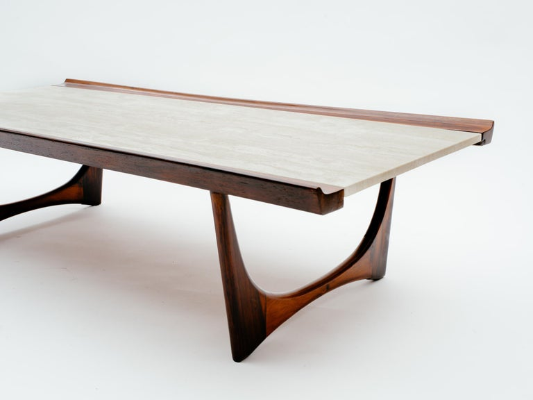Mid-Century Modern Giuseppe Scapinelli Brazilian Rosewood and Travertine Coffee Table For Sale