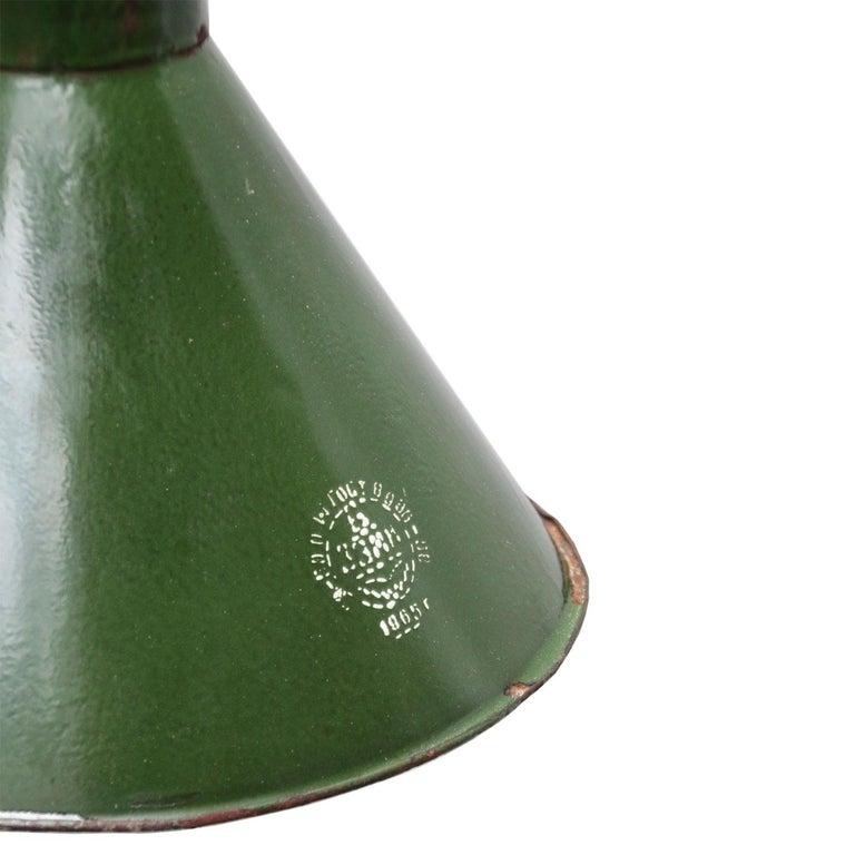 Ukrainian Green Enamel Vintage Industrial Pendant Lights For Sale