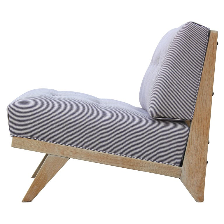 Pair of Modern Blue and White Striped Bleached Tiger Oak Slipper Lounge Chairs In Excellent Condition For Sale In Houston, TX
