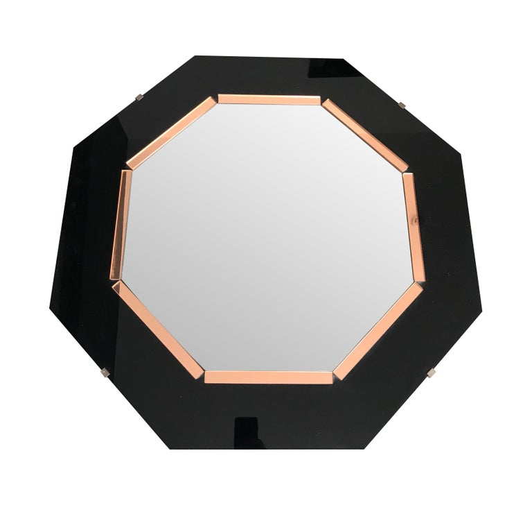 Blackened Black Glass and Rose Mirror  Art Deco Style Octagonal Mirror For Sale