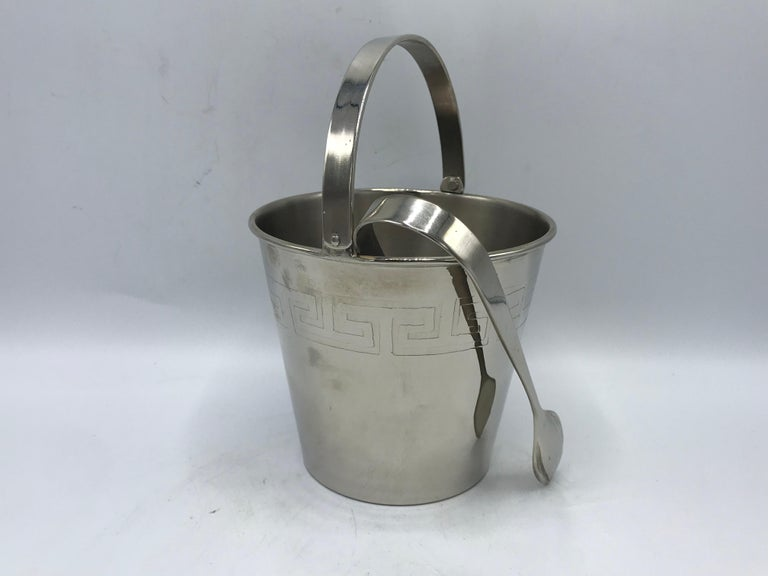 Polished 1970s Chrome Ice Bucket and Tongs with Greek Key Motif For Sale