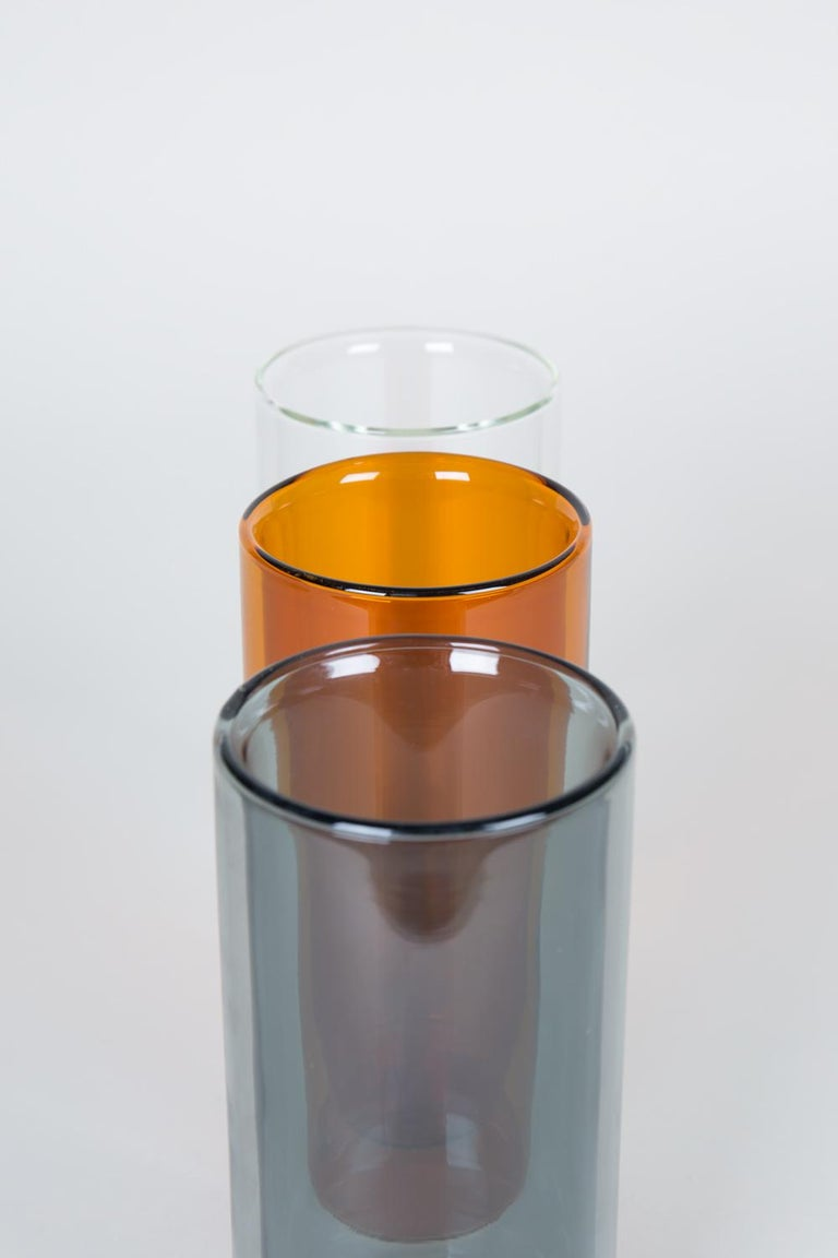 American Double-Wall 16oz Glasses, Set of Two, Amber For Sale