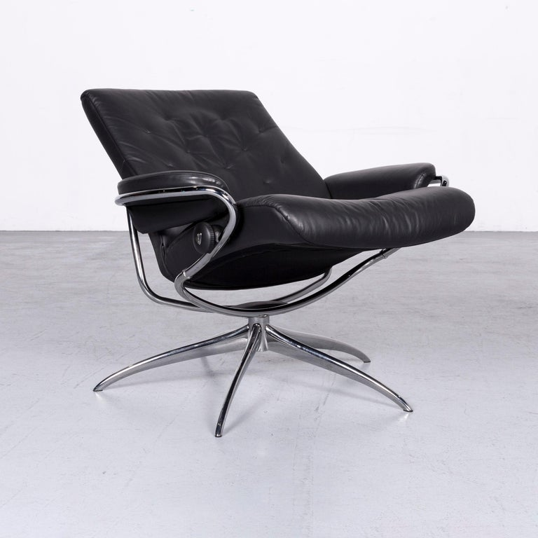 Ekornes Stressless Metro M Low Back Designer Leather Office Chair Black In Excellent Condition In Cologne, DE