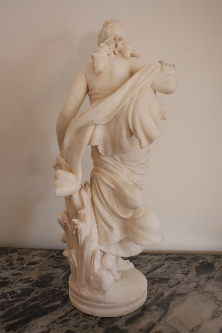 Italian 19th Century Fausto Biggi Carrara Marble Sculpture