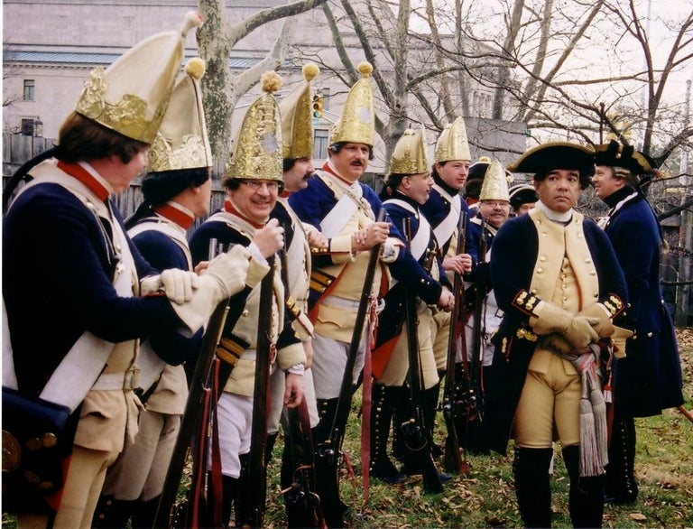 Hessian Andirons with Rare Blue Painted Coats, Early 1800s In Good Condition For Sale In Billerica, MA
