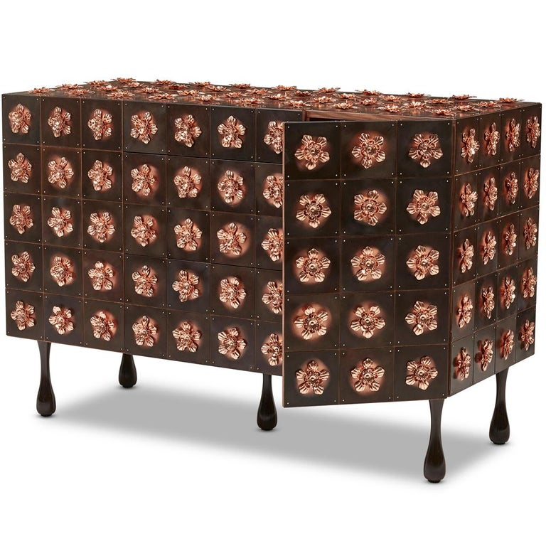 South African Copper and Burnished Steel, Contemporary Rosette Sideboard by Egg Designs For Sale