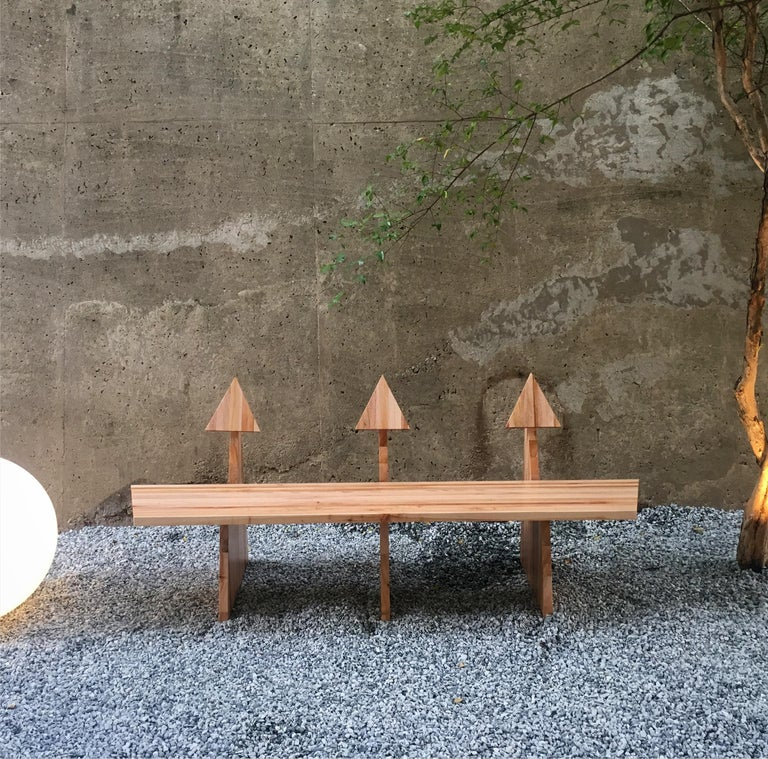Contemporary Trio Bench 2 in Solid African Mahogany Wood Panels Brazilian Design In Excellent Condition For Sale In Belo Horizonte, Minas Gerais