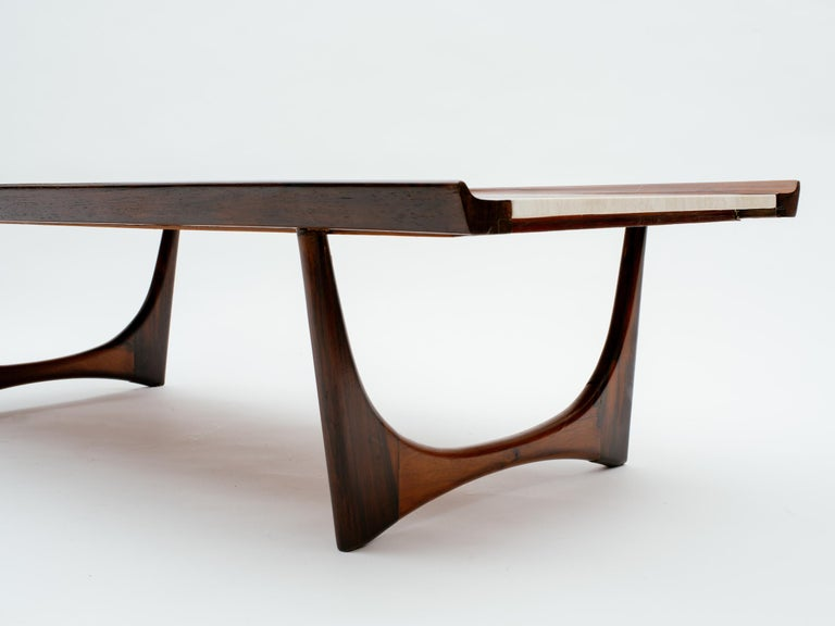 Carved Giuseppe Scapinelli Brazilian Rosewood and Travertine Coffee Table For Sale