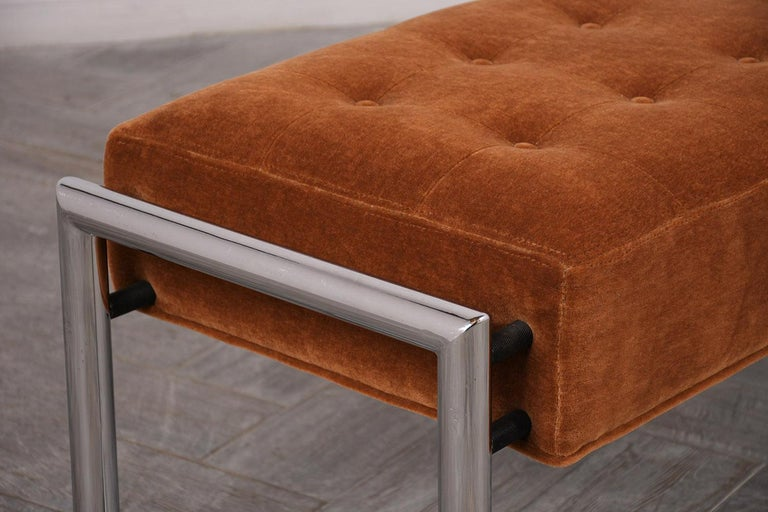 American Stylish 1960s Tufted Chrome Bench For Sale