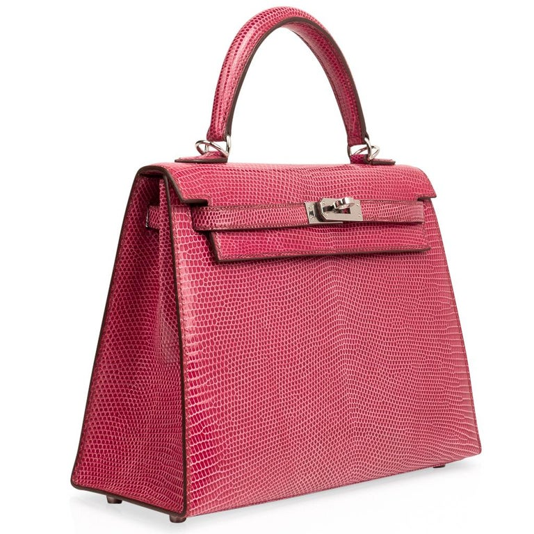 Hermes Kelly 25 Bag Sellier Fuschia Pink Lizard Palladium For Sale 1