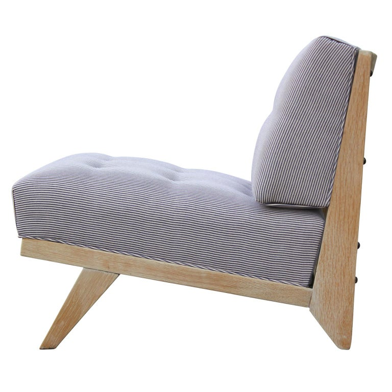 Mid-20th Century Pair of Modern Blue and White Striped Bleached Tiger Oak Slipper Lounge Chairs For Sale