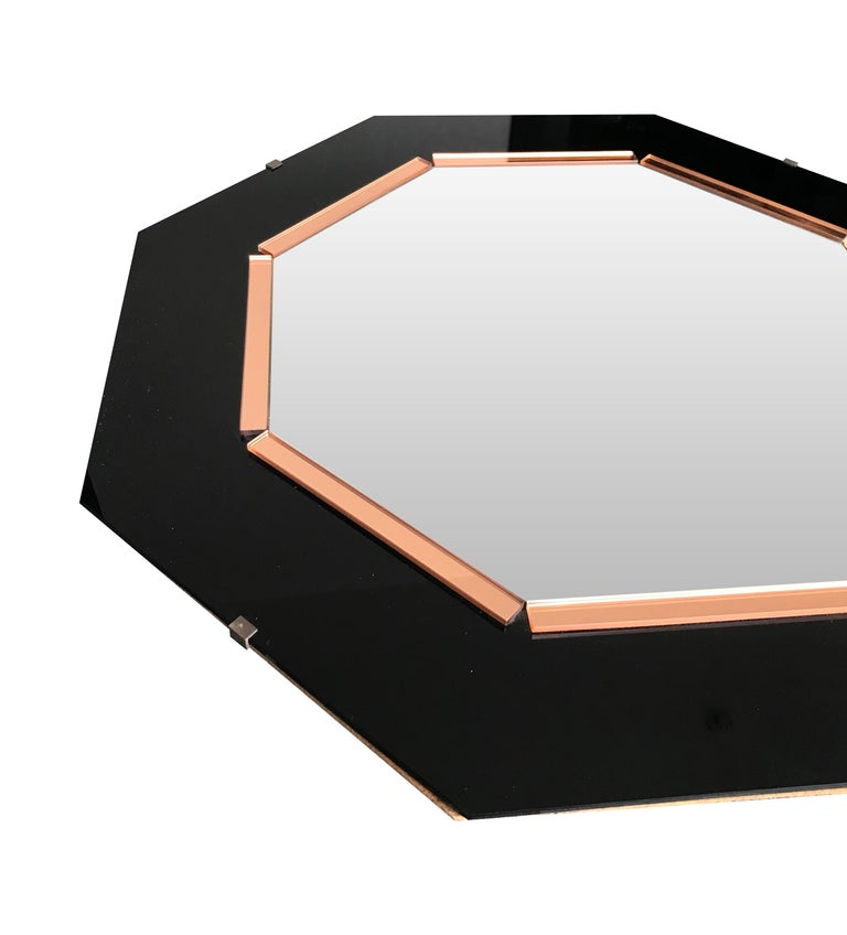 Black Glass and Rose Mirror  Art Deco Style Octagonal Mirror In Good Condition For Sale In London, GB