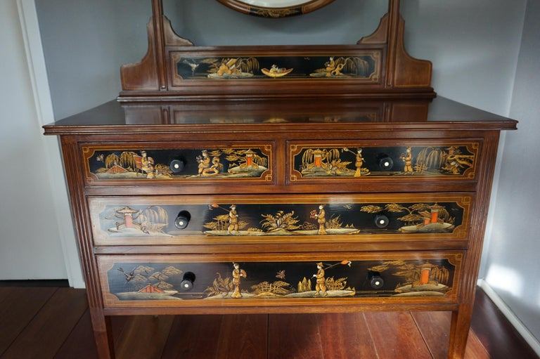 Antique Hand-Painted Mahogany Commode W. Beveled Vanity Mirror Chinoiserie Style In Excellent Condition For Sale In Lisse, NL