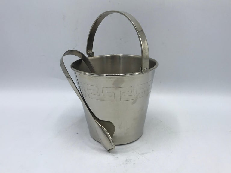1970s Chrome Ice Bucket and Tongs with Greek Key Motif In Excellent Condition For Sale In Richmond, VA