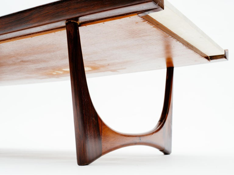 Giuseppe Scapinelli Brazilian Rosewood and Travertine Coffee Table In Good Condition For Sale In New York, NY
