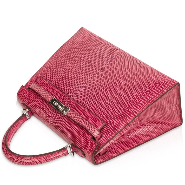 Hermes Kelly 25 Bag Sellier Fuschia Pink Lizard Palladium For Sale 2