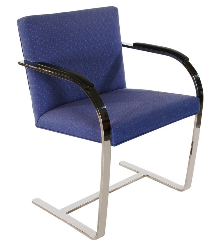 Stainless Steel Set of Eight Mid-Century Modern Flat Bar Brno Armchair Dining Chairs for Knoll For Sale