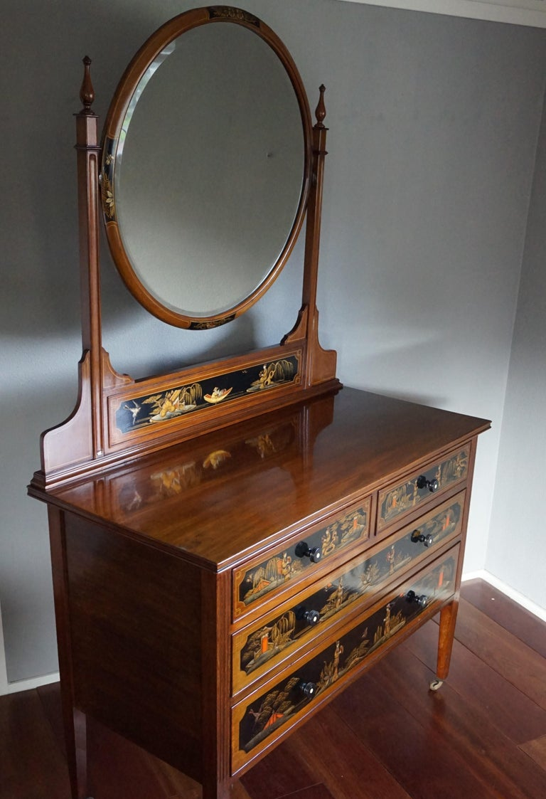 19th Century Antique Hand-Painted Mahogany Commode W. Beveled Vanity Mirror Chinoiserie Style For Sale