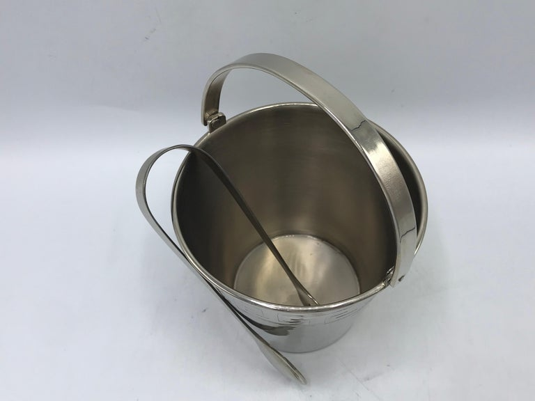 20th Century 1970s Chrome Ice Bucket and Tongs with Greek Key Motif For Sale
