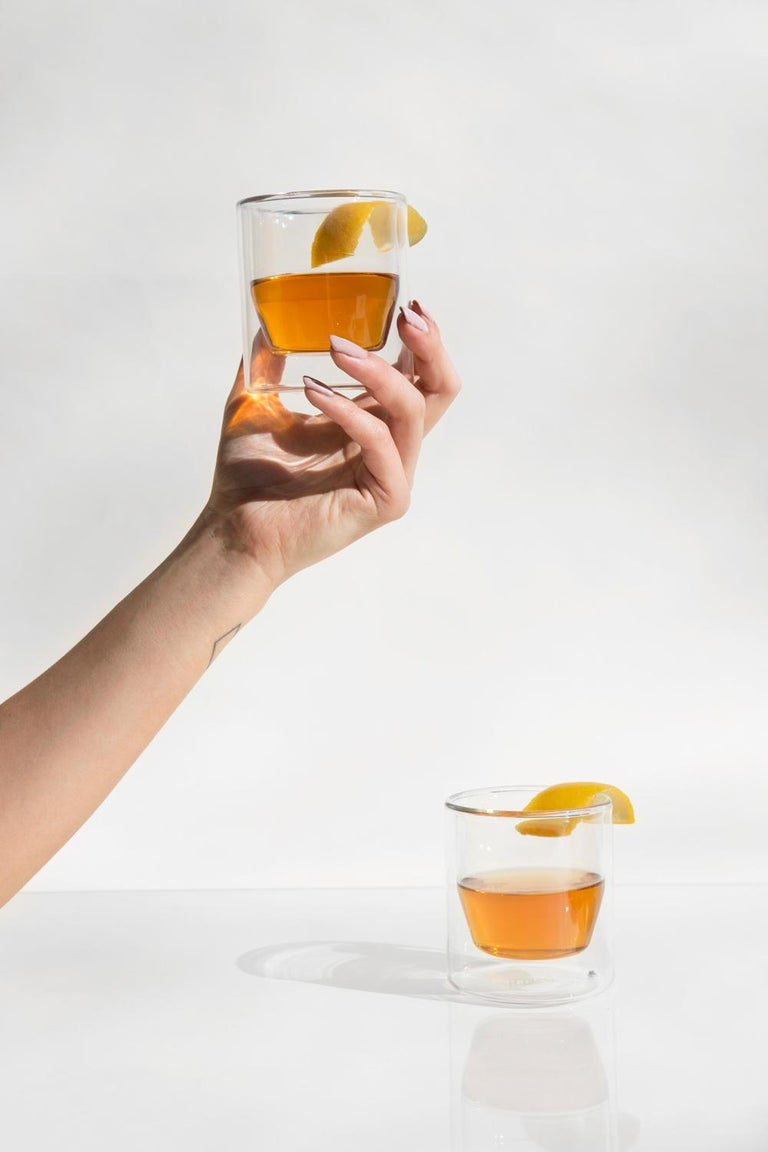 Contemporary Double-Wall 6oz Glasses, Set of Two, Clear For Sale