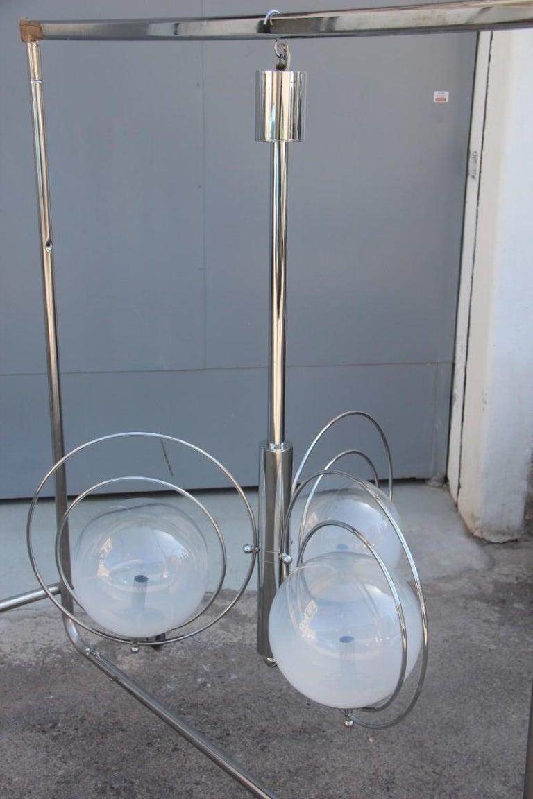 Metal Pop Art Italian Chandelier Chrome Balls Murano Glass Italian Design 1970s Round For Sale