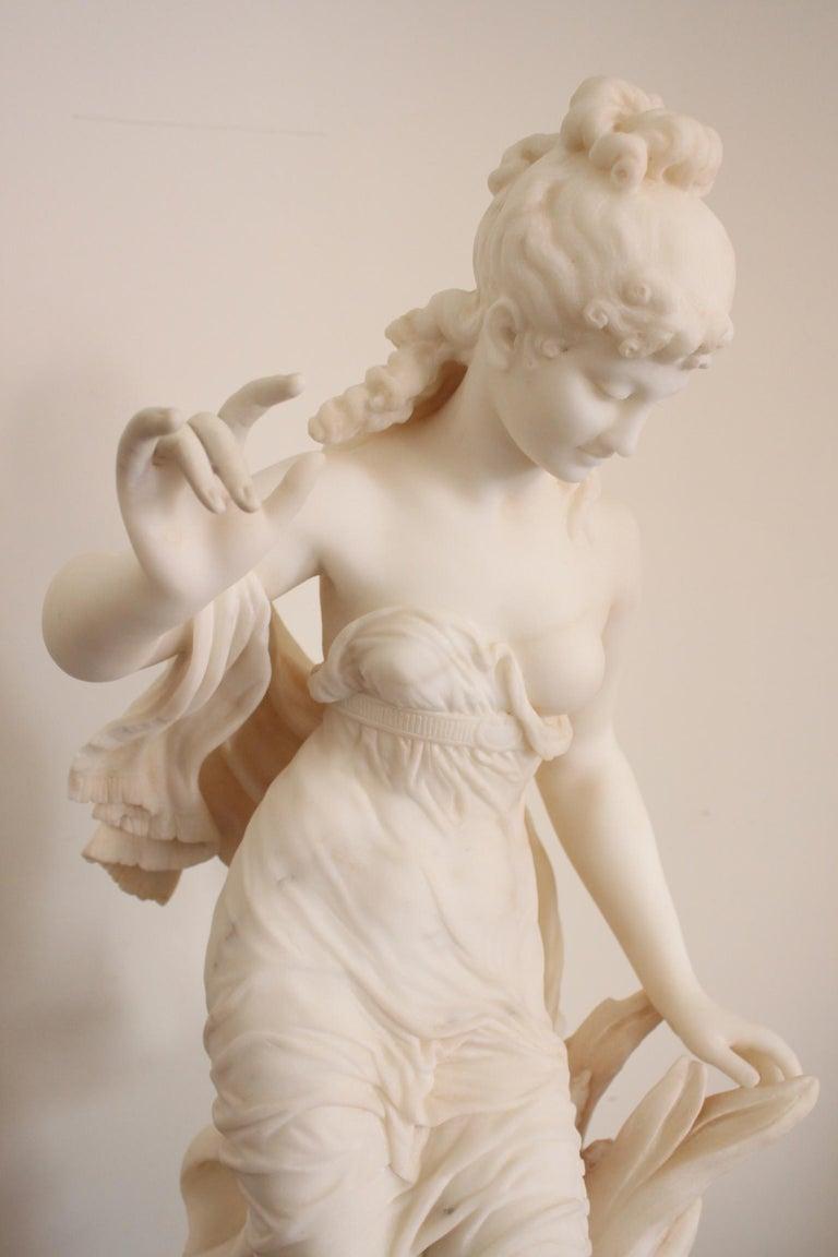 19th Century Fausto Biggi Carrara Marble Sculpture