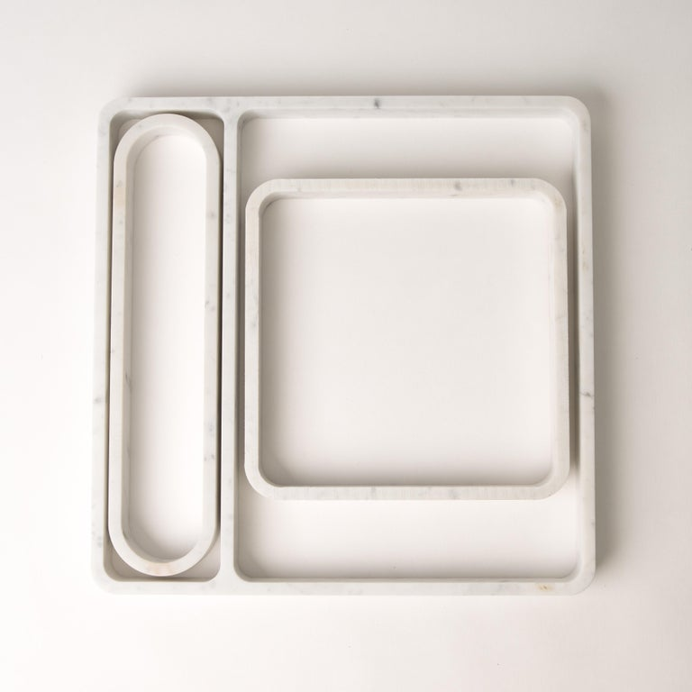Draft Tray: Straight, Marble and Leather table top valet tray In Excellent Condition For Sale In Brooklyn, NY