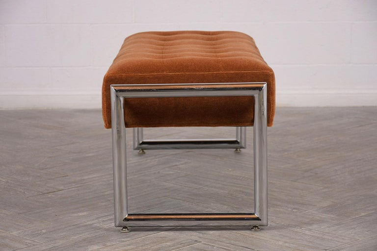 Stylish 1960s Tufted Chrome Bench In Excellent Condition For Sale In Los Angeles, CA
