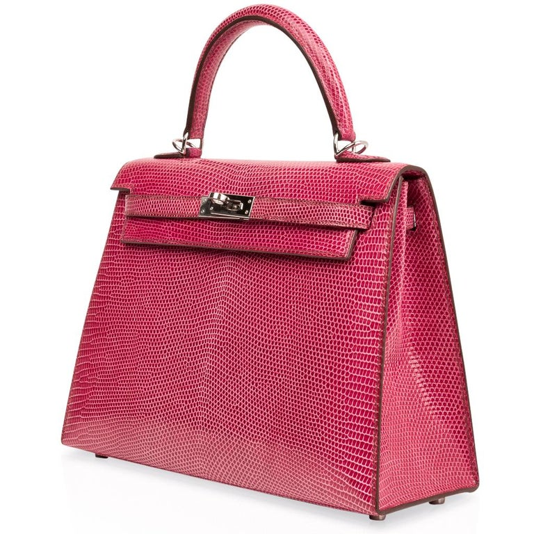 Hermes Kelly 25 Bag Sellier Fuschia Pink Lizard Palladium For Sale 3