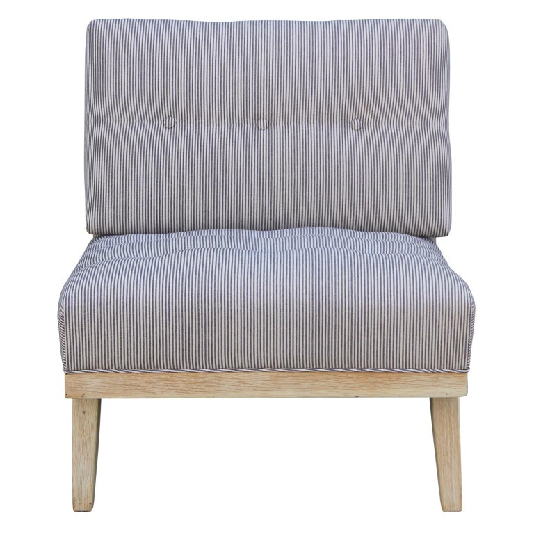 Pair of Modern Blue and White Striped Bleached Tiger Oak Slipper Lounge Chairs For Sale 2