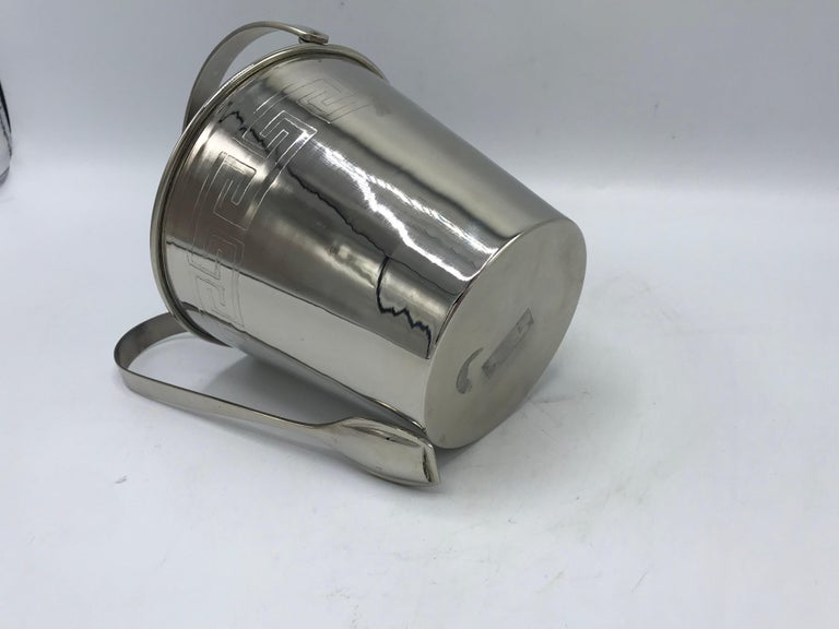 1970s Chrome Ice Bucket and Tongs with Greek Key Motif For Sale 1