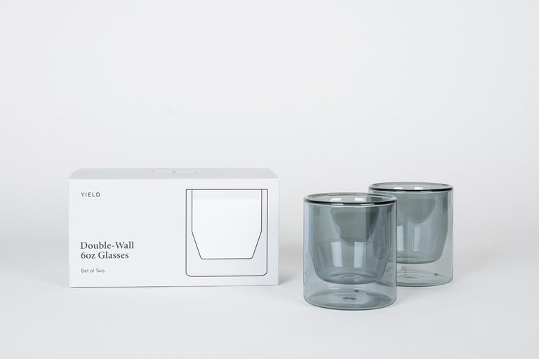 Double-Wall 6oz Glasses, Set of Two, Gray For Sale 1