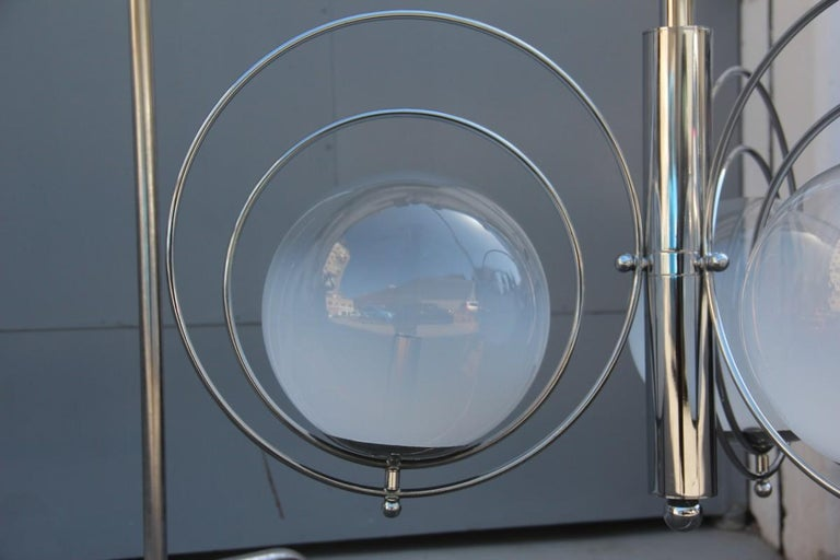Pop Art Italian Chandelier Chrome Balls Murano Glass Italian Design 1970s Round For Sale 1